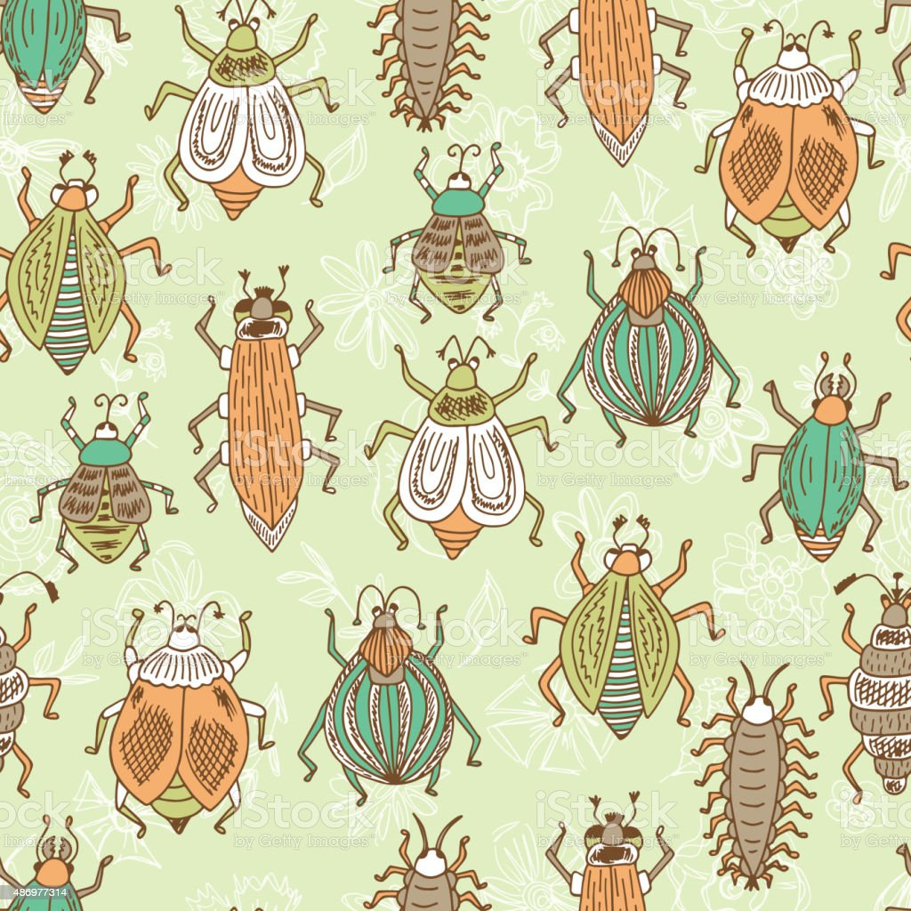 Vector Seamless pattern of doodle Cartoon Bugs on a floral background