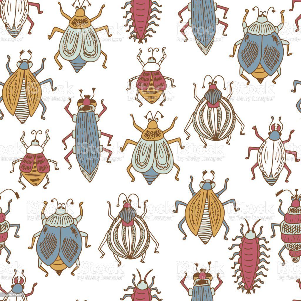 Funny Colorful insects. Vector Seamless pattern of doodle Cartoon...