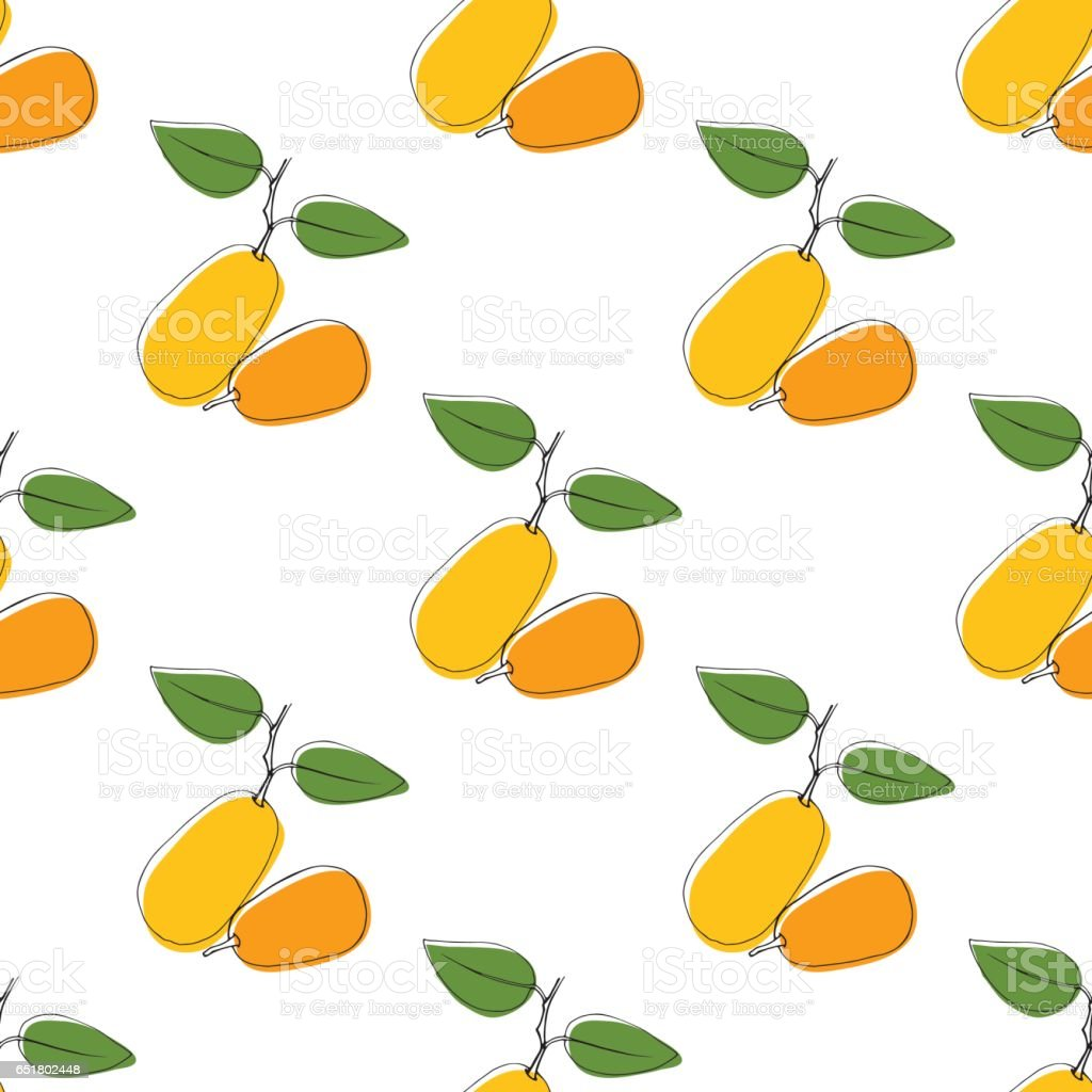 Vector seamless pattern background with hand drawn kumquat in vintage style. On white. Use for textile, fabric, paper, web, page, wallpaper etc. vector art illustration