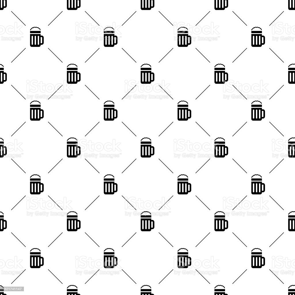 Vector seamless pattern, beer vector art illustration