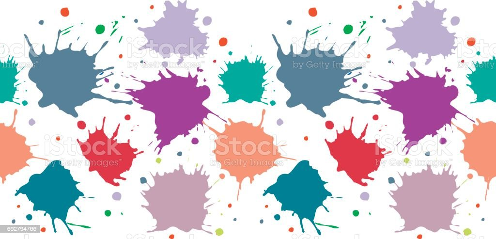 Vector seamless pattern, border with inc splash, blots, smudge and brush strokes. Grunge endless template for web background, prints, wallpaper, surface, wrapping, repeat elements for design