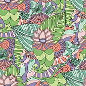 Vector seamless pattern. Bright fashionable pattern is perfect for textilefor wallpaper,pattern fills, web page background.Colorful decorative seamless hand drawn doodle nature ornamental curl vector sketchy pattern.