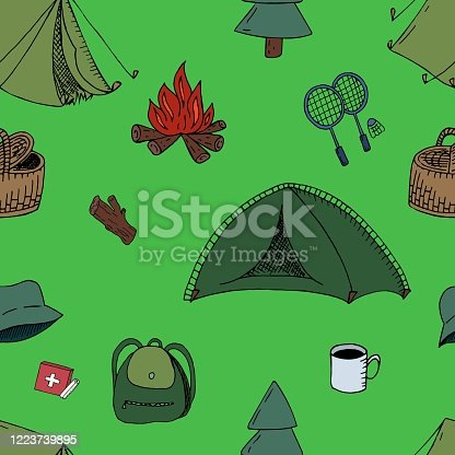 vector seamless pattern, camping on green background