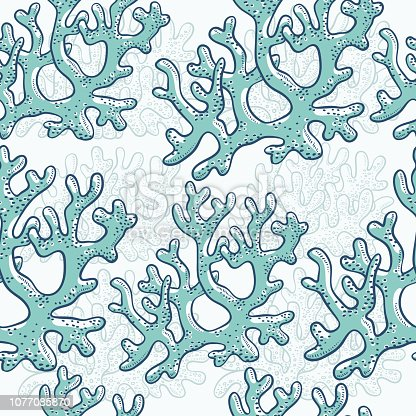 Vector seamless pattern corrals. Polyps monochrome turquoise outline sketch illustration isolated on white background for design of tourist marine theme