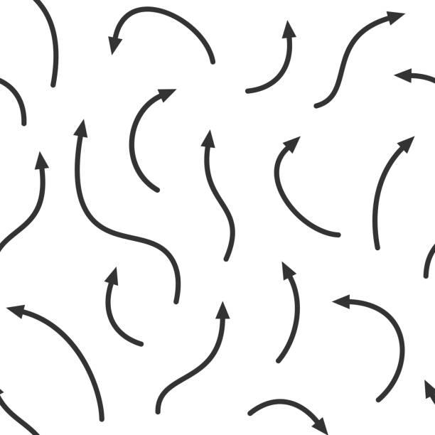 stockillustraties, clipart, cartoons en iconen met vector naadloos patroon. gebogen pijlen van verschillende lengtes. monochrome achtergrond. - lang lengte