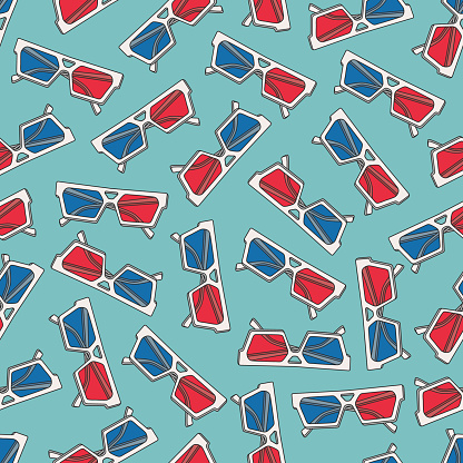 Vector seamless pattern design with 3d glasses