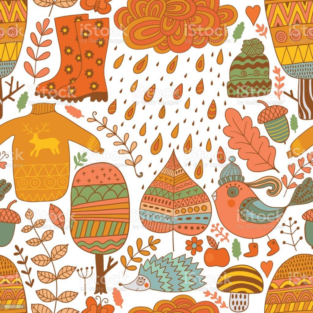 Vektor Musterdesign Kritzeln Herbst Design Hand Zeichnen Baume Und