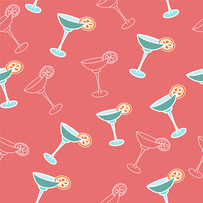 vector seamless pattern drink with ice alcohol margarita in a glass, cocktails