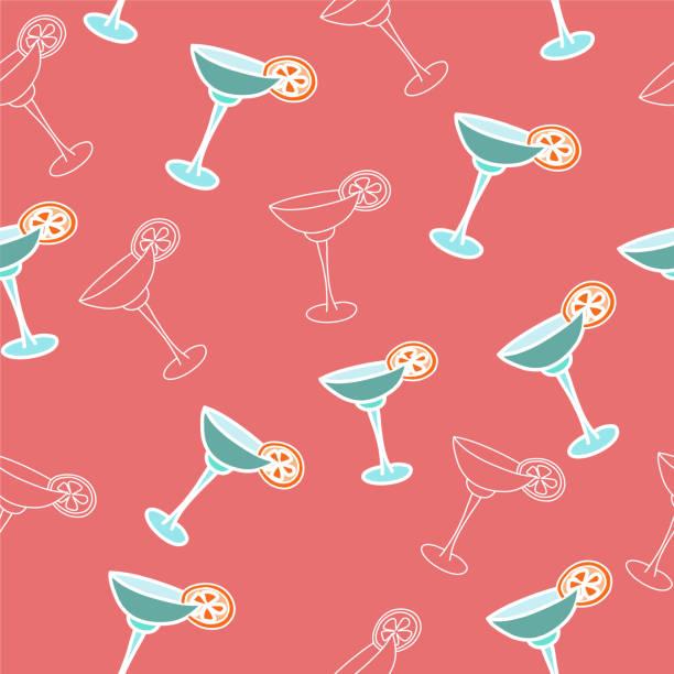 bildbanksillustrationer, clip art samt tecknat material och ikoner med vector sömlösa mönster drink med ice alkohol margarita i ett glas, cocktails - vin sommar fest