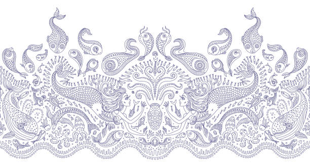 Vector seamless pattern. Fantasy mermaid, octopus, fish, sea animals blue contour thin line drawing with ornaments on a white background. Coloring book page for adults and children. Embroidery border, wallpaper, textile print, wrapping paper vector art illustration