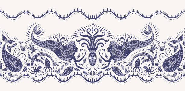 Vector seamless pattern. Fantasy mermaid, octopus, fish, sea animals dark indigo blue silhouette with ornaments on a beige background. Batik border, wallpaper fridge, textile print, wrapping paper vector art illustration