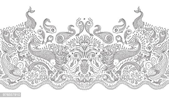 Vector seamless pattern. Fantasy mermaid, octopus, fish, sea animals thin contour line ornate drawing. Black and white embroidery border, wallpaper, textile print, wrapping paper, adults coloring book