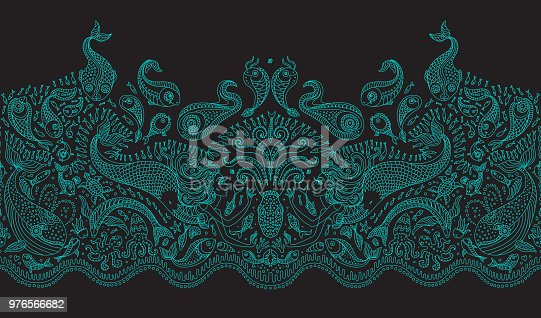 Vector seamless pattern. Fantasy mermaid, octopus, fish, sea animals thin turquoise contour line ornate drawing on a dark black background. Embroidery border, wallpaper, textile fringe print, wrapping paper
