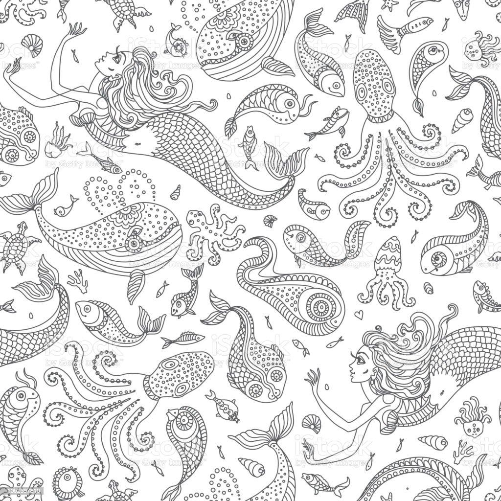 Modele Sans Couture De Vecteur Fantastiques Sirene Poulpes Poissons