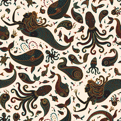 Vector seamless pattern. Fantasy mermaid, octopus, fish, sea animals colorful contour thin line drawing with ornaments on a beige background. Embroidery border, wallpaper, textile print, wrapping paper