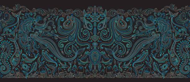 ilustraciones, imágenes clip art, dibujos animados e iconos de stock de patrón sin costuras vectoriales. fantasía sirena, pulpo, pescado, animales marinos contorno azul verde dibujo línea delgada sobre un fondo negro. borde de bordado, papel pintado, estampado textil, papel de envolver - tatuajes de sirenas