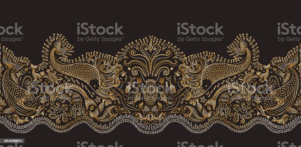 Vector seamless pattern. Fantasy mermaid, octopus, fish, sea animals golden contour thin line drawing with ornaments on a black background. Embroidery border, wallpaper fringe, textile print, wrapping paper vector art illustration