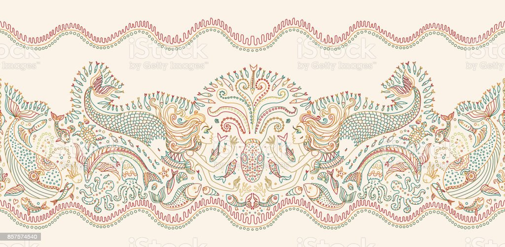 Ilustración de Patrón Transparente De Vector Fantasía De Sirena ...