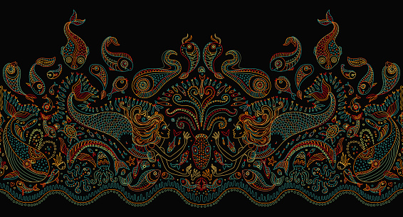 Vector seamless pattern. Fantasy mermaid, octopus, fish, sea animals colorful contour thin line drawing with ornaments on a black background. Embroidery border, wallpaper, textile print, wrapping paper