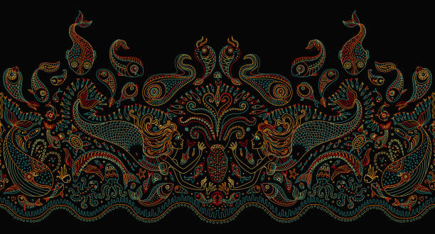 Vector seamless pattern. Fantasy mermaid, octopus, fish, sea animals colorful contour thin line drawing with ornaments on a black background. Embroidery border, wallpaper, textile print, wrapping paper vector art illustration