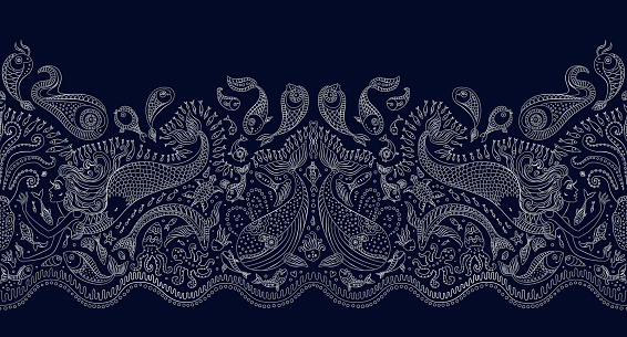 Vector seamless pattern. Fantasy mermaid, octopus, fish, sea animals silver contour thin line drawing with ornaments on a dark blue background. Embroidery border, wallpaper, textile print, wrapping paper