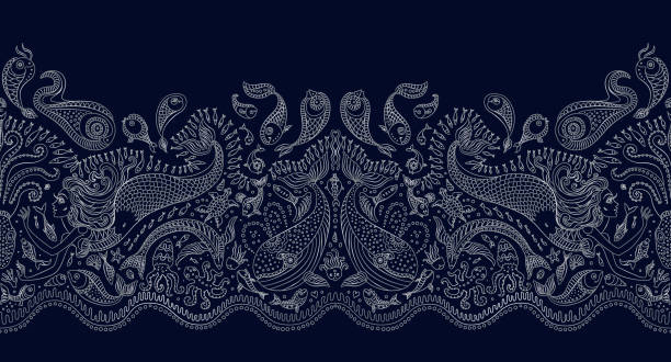 Vector seamless pattern. Fantasy mermaid, octopus, fish, sea animals silver contour thin line drawing with ornaments on a dark blue background. Embroidery border, wallpaper, textile print, wrapping paper vector art illustration