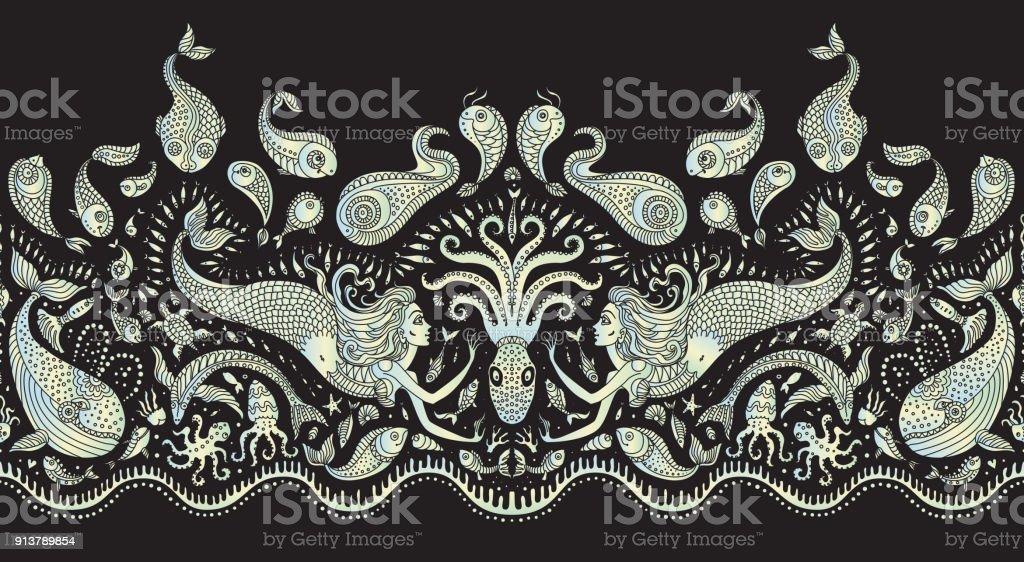 Vector naadloze patroon fantasy octopus vissen zeemeermin zee dieren
