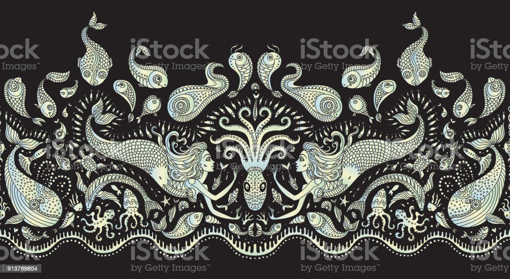 Vector seamless pattern. Fantasy mermaid, octopus, fish, sea animals colorful pearl silhouette with ornaments on a black background. Batik border, wallpaper fridge, textile print, wrapping paper