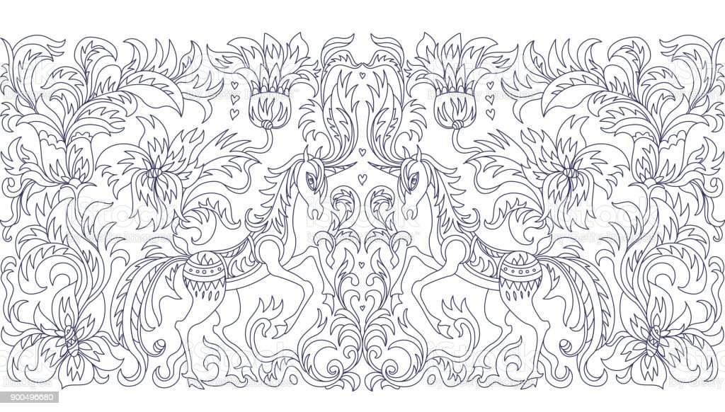 Vector Seamless Pattern Fantasy Unicorn Tree Flowers Leaves Blue Contour Thin Line