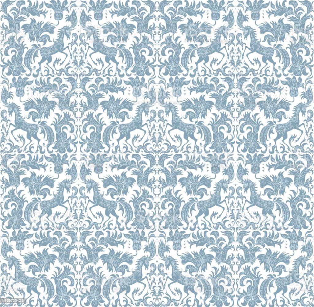 vector seamless pattern fantasy unicorn tree flowers leaves light