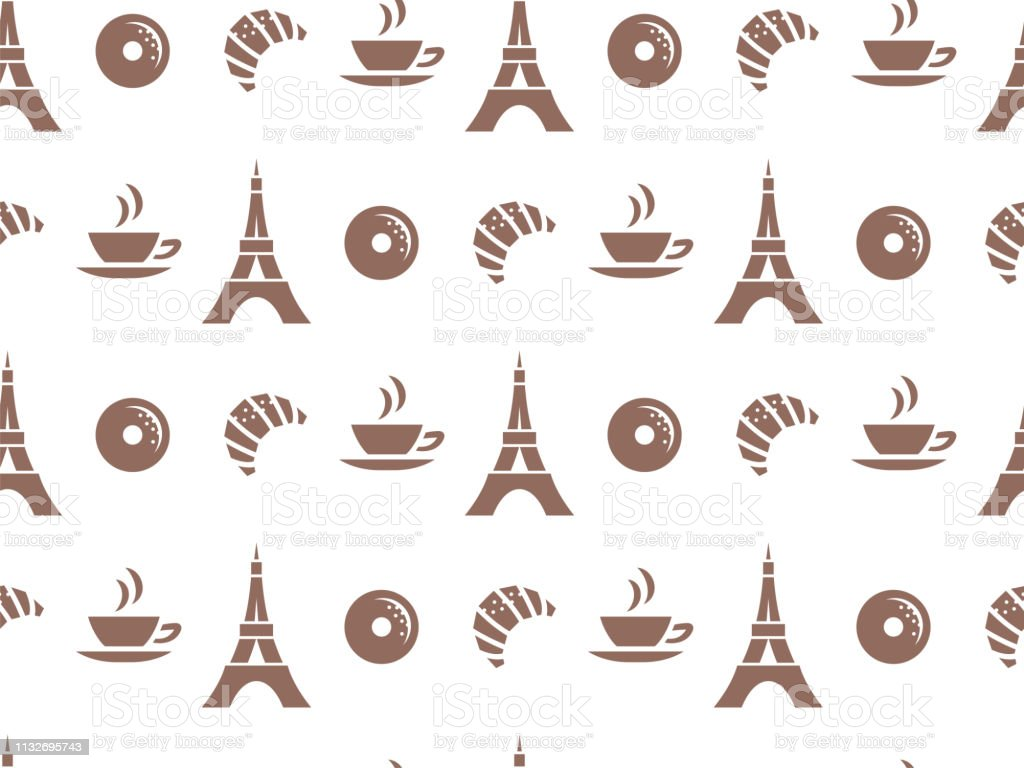 Vector seamless pattern for cafes, or for packing products. Pastries, coffee, Paris. vector art illustration
