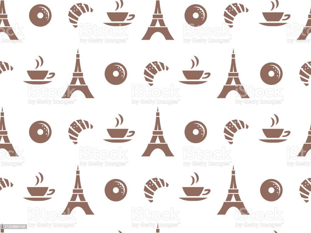 Vector nahtloses Muster für Cafés oder für die Verpackung von Produkten. Gebäck, Kaffee, Paris. – Vektorgrafik