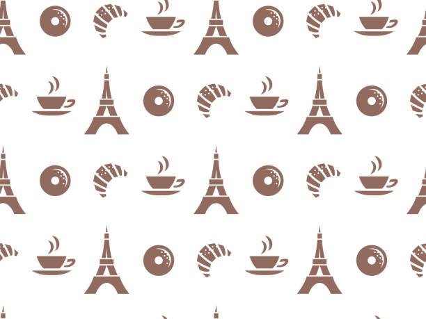 ilustraciones, imágenes clip art, dibujos animados e iconos de stock de patrón de vectores sin fisuras para cafés, o para productos de empaque. pasteles, café, parís. - comida francesa