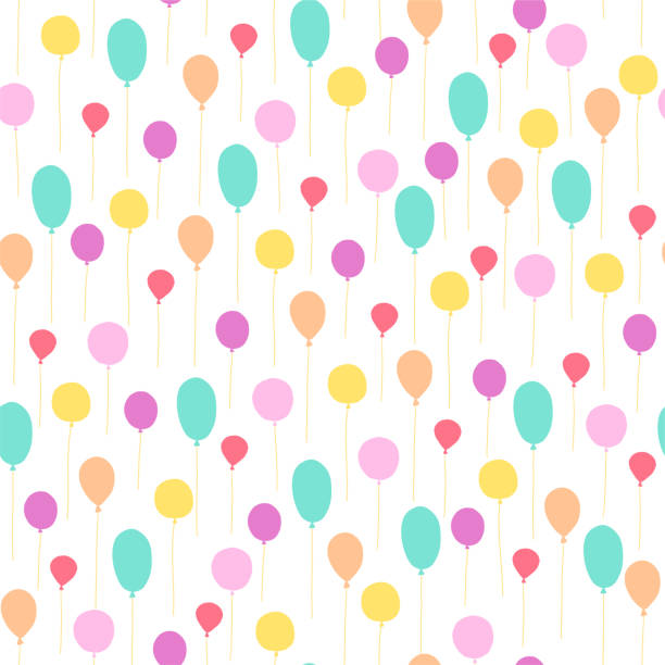 Vector seamless pattern for children birthday party. Flat hand drawn style. Vector seamless pattern for children birthday party. Flat hand drawn style. Green, yellow and pink balloons isolated on white background. Good for cards, packaging gifts paper, banner etc. birthday background stock illustrations