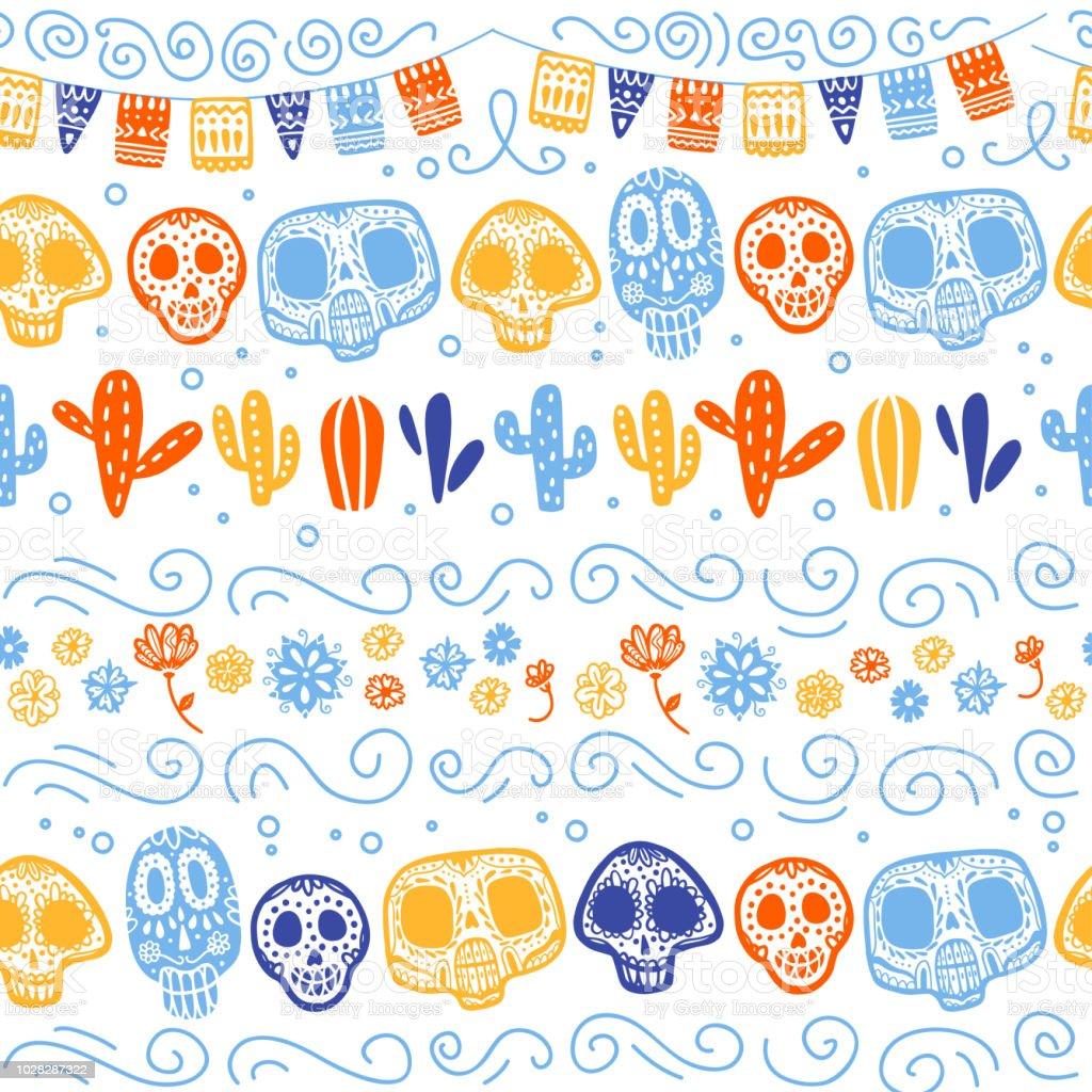Patrón transparente de vector para México una celebración - día de los muertos - con el cráneo, garland, cactus, ornamento floral aislado sobre fondo blanco. - ilustración de arte vectorial