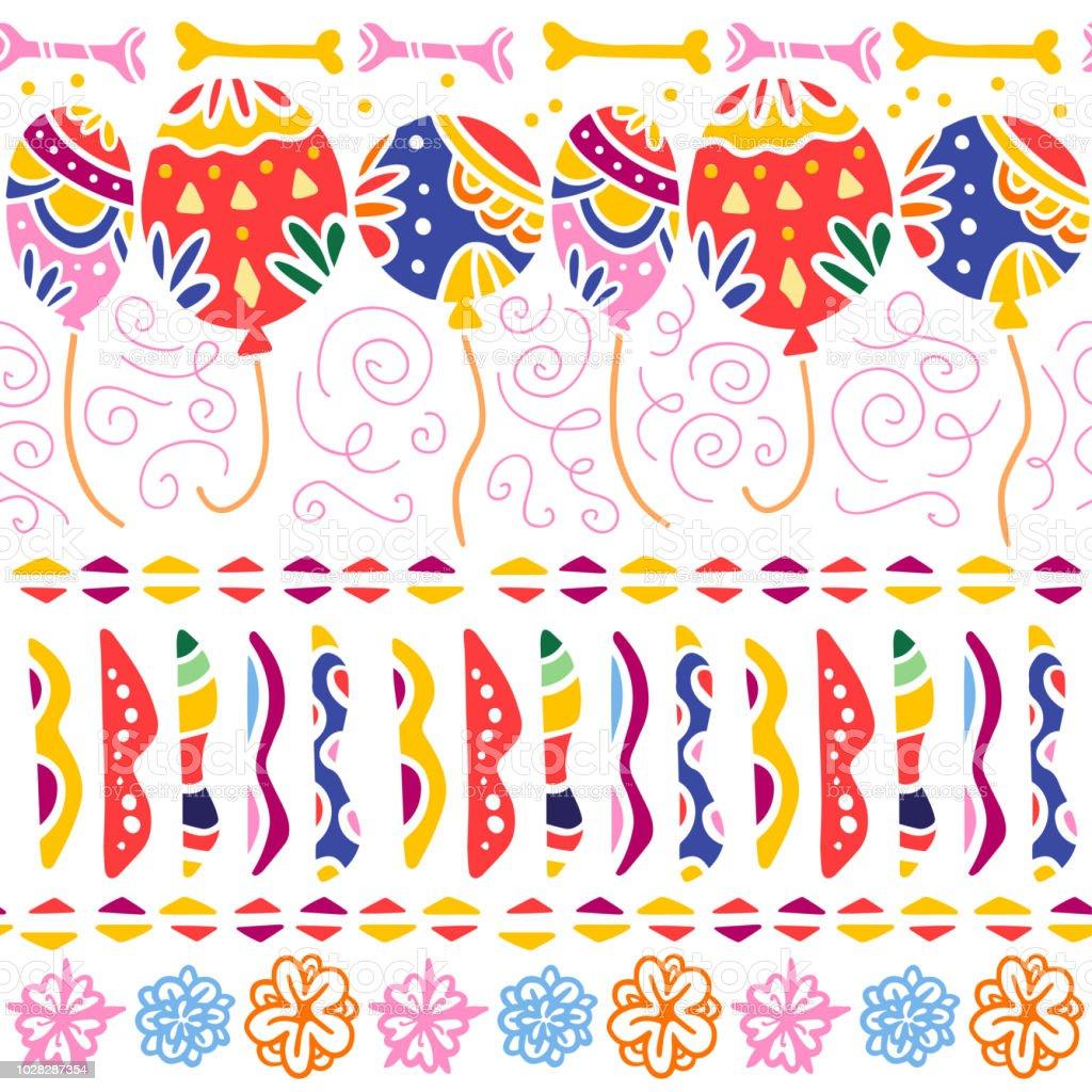 Patrón transparente de vector para México una celebración - día de los muertos - con coloridos globos, adornos abstractos, huesos, flores aisladas sobre fondo blanco. - ilustración de arte vectorial