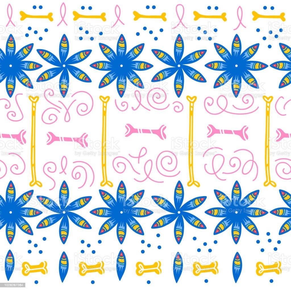Patrón transparente de vector para México una celebración - día de los muertos - con flores azules, huesos, flores ornamento aislado sobre fondo blanco. - ilustración de arte vectorial