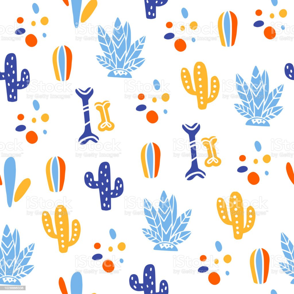 Patrón transparente de vector para México una celebración - día de los muertos - con huesos, cactus, plantas aisladas sobre fondo blanco. - ilustración de arte vectorial