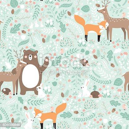 Forest friends, bear, deer, fox, rabbit, bird, hedgehog.