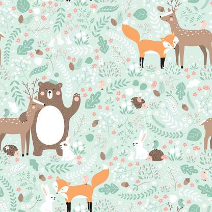 Vector seamless pattern, forest animals illustration. clipart