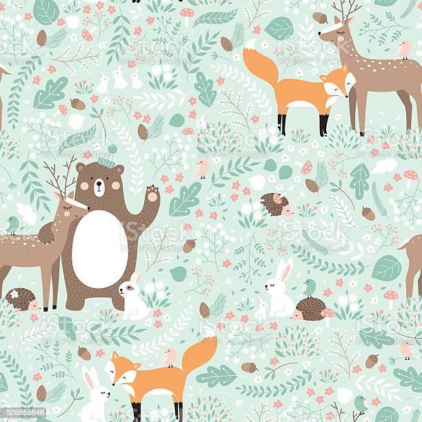 Vector seamless pattern forest animals illustration vector id526556846?b=1&k=6&m=526556846&s=612x612&h=y7f3ozdxma9nxlcun3g0h9jd ey5w6u1 yee hol vw=