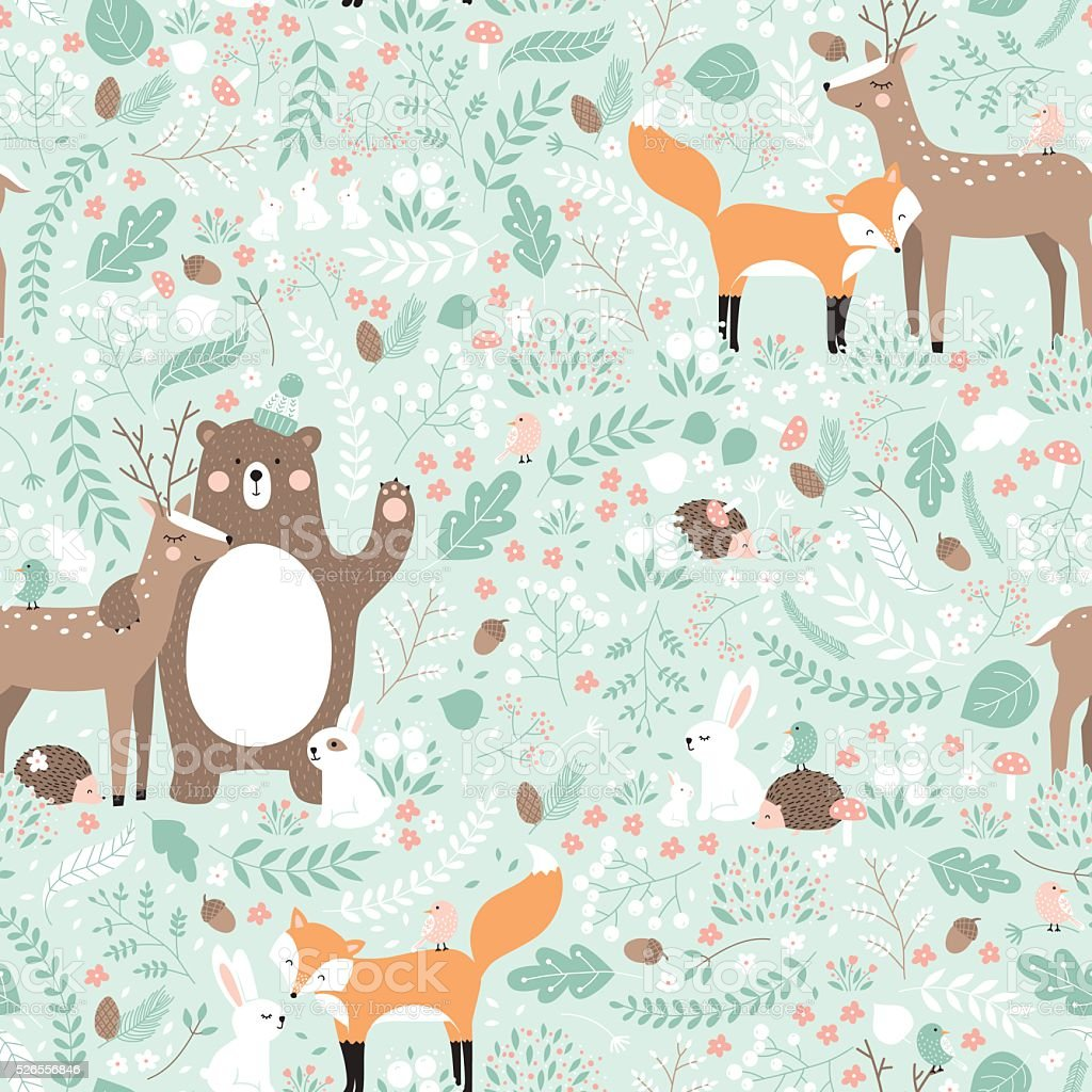 Vector seamless pattern, forest animals illustration. vector art illustration