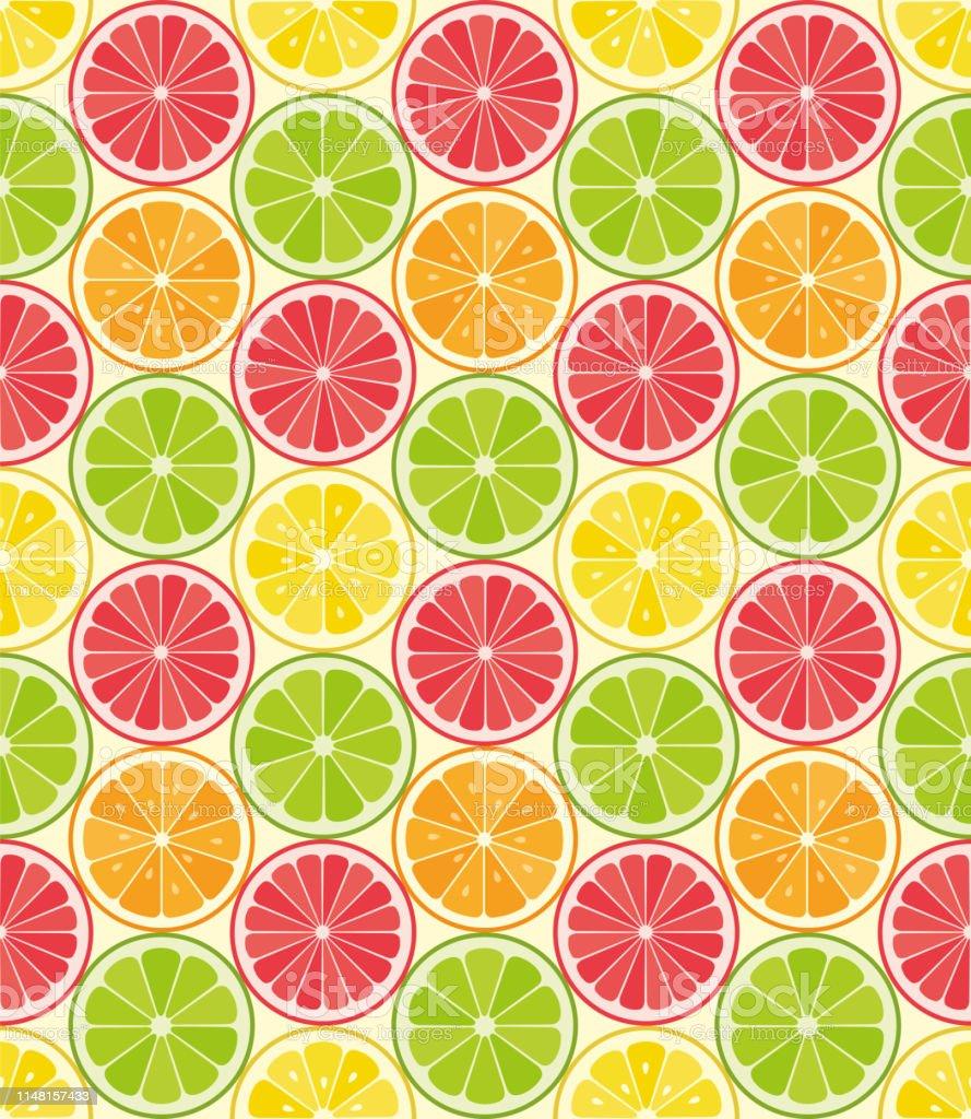 Vector seamless pattern from citrus slices. Orange, lemon, lime, grapefruit slices. Summer background. Vector seamless pattern from citrus slices. Orange, lemon, lime, grapefruit slices. Summer background. - Illustration Backgrounds stock vector