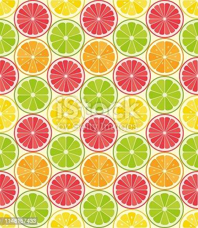 Vector seamless pattern from citrus slices. Orange, lemon, lime, grapefruit slices. Summer background. - Illustration