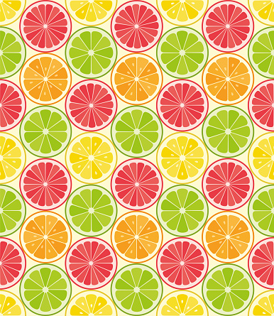 Vector seamless pattern from citrus slices. Orange, lemon, lime, grapefruit slices. Summer background.