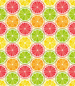 Vector seamless pattern from citrus slices. Orange, lemon, lime, grapefruit slices. Summer background. - Illustration