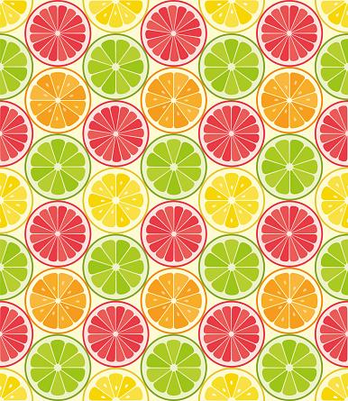 Vector Seamless Pattern From Citrus Slices Orange Lemon Lime Grapefruit Slices Summer Background Stock Illustration - Download Image Now