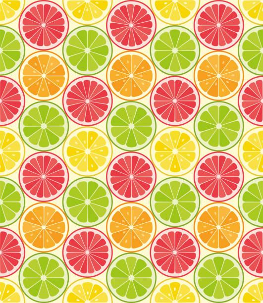 Vector seamless pattern from citrus slices. Orange, lemon, lime, grapefruit slices. Summer background. Vector seamless pattern from citrus slices. Orange, lemon, lime, grapefruit slices. Summer background. - Illustration citrus fruit stock illustrations