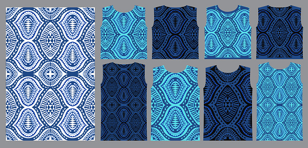 Vector seamless pattern from indigo blue and white geometrical shapes, rhombus, triangles, Maori ornaments, wavy stripes. Tee shirt print. Wrapping paper, wallpaper, Batik textile paint for tunic
