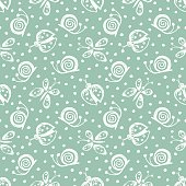 Seamless vector hand drawn seamless pattern with insect. Blue background with ladybug, butterfly, snail Decorative cute graphic drawn illustration Template for background, wrapping, wallpaper